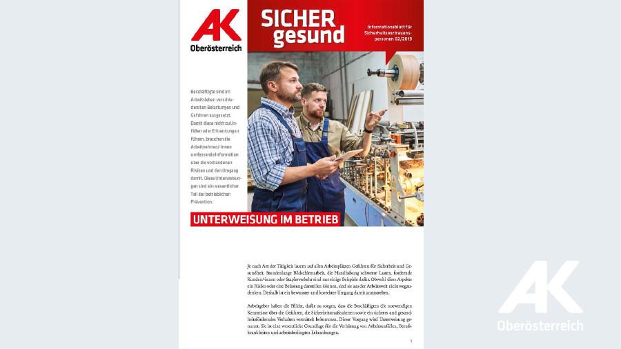 Wandzeitung Sicher gesund: Unterweisung im Betrieb © -, Arbeiterkammer Oberösterreich