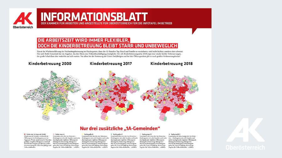 Landkarten von Oberösterreich: Kinderbetreuung von 2000 bis 2018 © -, Arbeiterkammer Oberösterreich