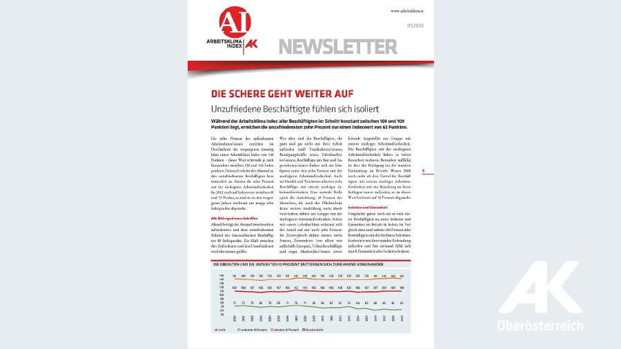 Arbeitsklima Index 2020/1 © -, Arbeiterkammer Oberösterreich