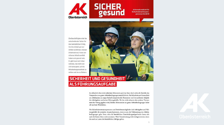 Wandzeitung Sicher gesund: Sicherheit und Gesundheit als Führungsaufgabe © -, Arbeiterkammer Oberösterreich