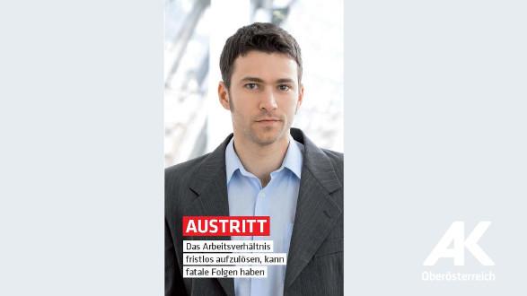 Broschüren-Cover Austritt © -, Arbeiterkammer Oberösterreich