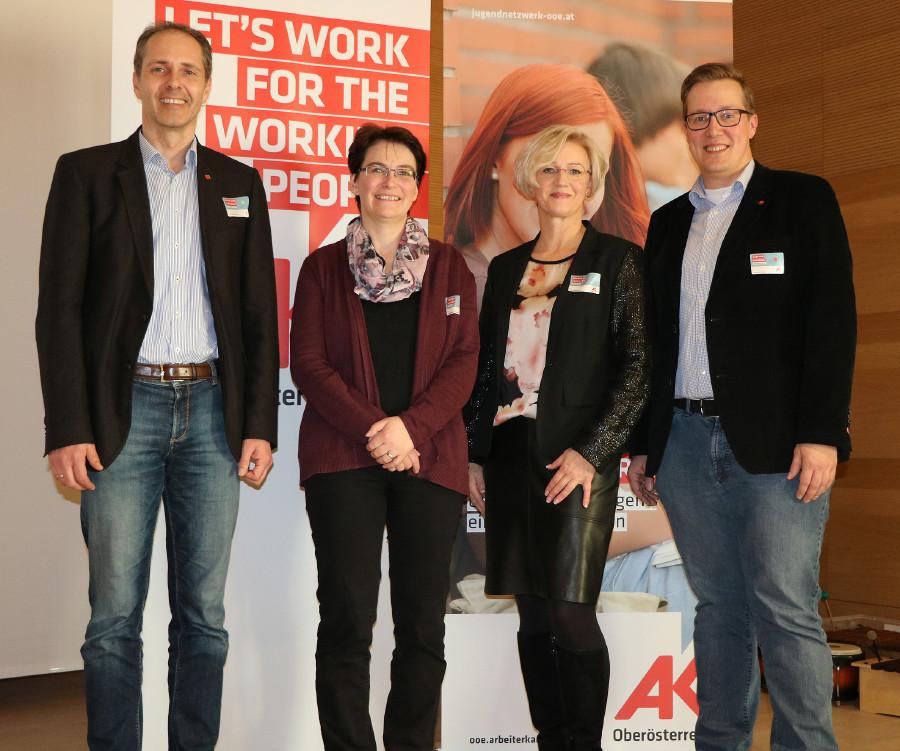Jugendnetzwerktreffen in Innviertel: Wolfgang Schwarz, Tanja Jadin, Regina Edthaler und Stefan Wimmer © Arbeiterkammer Oberösterreich, -