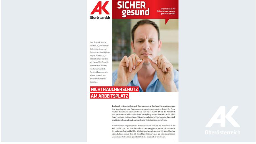 Wandzeitung Sicher Gesund Nr. 1/2021: Nichtraucherschutz am Arbeitsplatz © Arbeiterkammer Oberösterreich