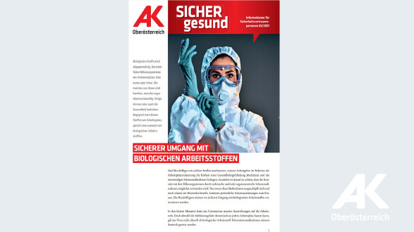 Wandzeitung Sicher Gesund Nr. 2/2021: Sicherer Umgang mit biologischen Arbeitsstoffen © Arbeiterkammer Oberösterreich