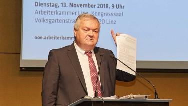 AK-Präsident Johann Kalliauer spricht vor der AK-Vollversammung am 13.11.2018 © AK Oberösterreich