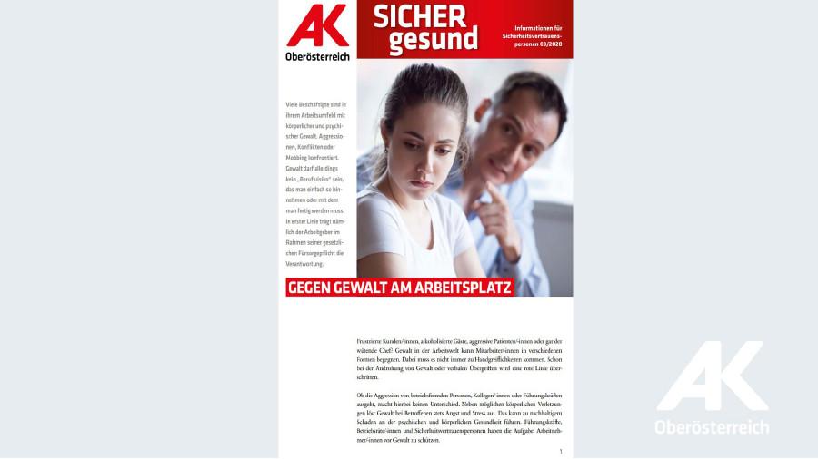 Wandzeitung Sicher Gesund Nr. 3/2020: Gegen Gewalt am Arbeitsplatz © Arbeiterkammer Oberösterreich