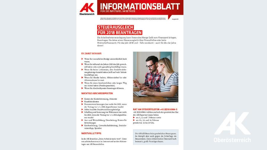 Informationsblatt: Steuerausgleich für 2018 beantragen © -, Arbeiterkammer Oberösterreich