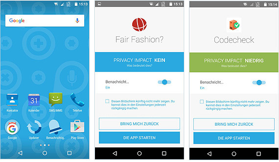 Screenshots von Fairphone-Display und -Privacy Impact © AK OÖ, -