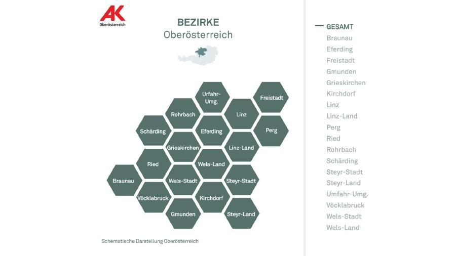 Bezirke in Oberösterreich - Übersicht © -, AK Oberösterreich