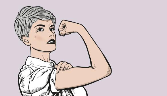 Frau zeigt starken Arm © -, Arbeiterkammer Oberösterreich