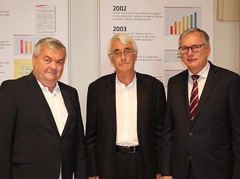 """Kalliauer, Crouch und Stöger bei der Feier """"20 Jahre Arbeitsklima Index"""" © AKOÖ, -"""