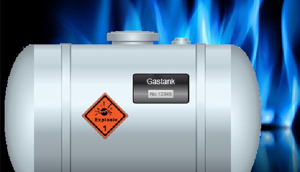 Gastank mit Gasflammen im Hintergrund © iconshow | bystudio, Fotolia.com