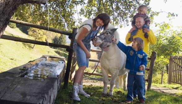 Familie mit Pony beim Brunnen © tunedin, stock.adobe.com
