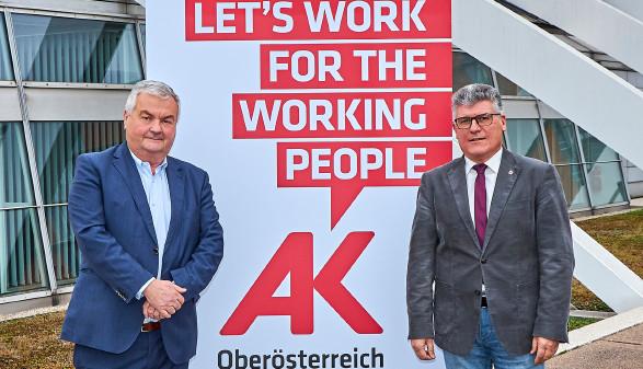 AK-Präsident Dr. Johann Kalliauer und der neue Vizepräsident Josef Madlmayr © C. Staudinger, Arbeiterkammer Oberösterreich