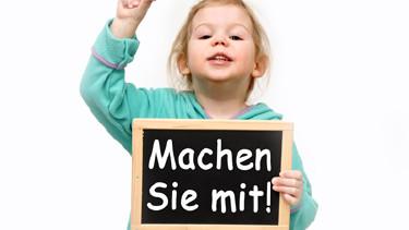 """Mädchen hält einen Tafel mit der Aufschrift """"Machen Sie mit!"""" © Marco2811, fotolia.com"""